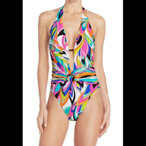 Trina Turk St. Tropez Retro High Leg Swimsuit Sz 6